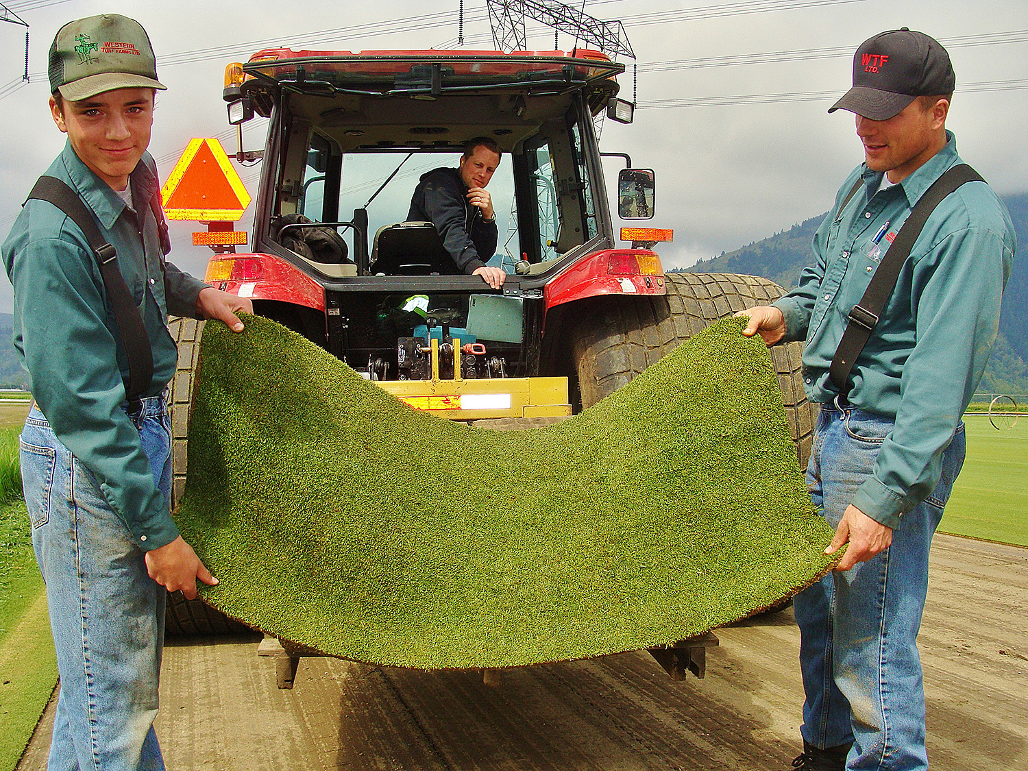 WTF-3 team members holding sod